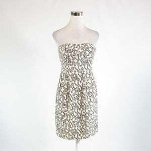 Ivory black J. CREW empire waist dress 6